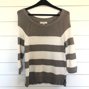 Loft Gray and White Striped Knit Sweater